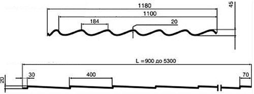 продольный и поперечный разрез листа металлочерепицы