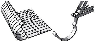 разметка линии изгиба крючков и загиб с помощью специального инструмента