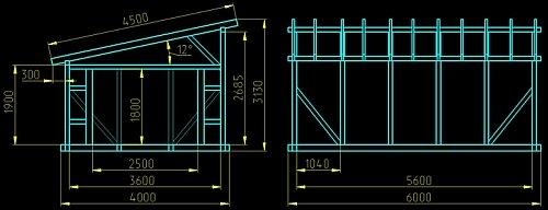 чертеж односкатной крыши гаража 46