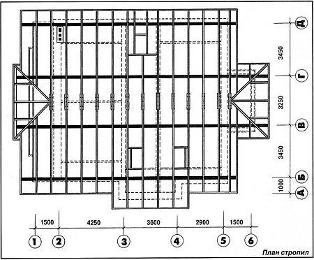 план стропил шатровой крыши