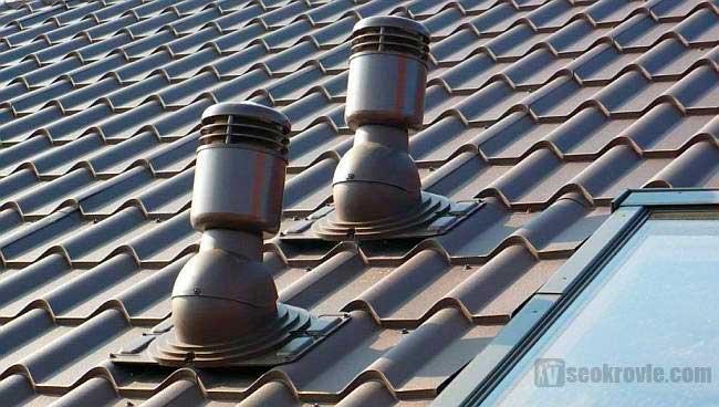 точечный аэратор на металлочерепичной крыше